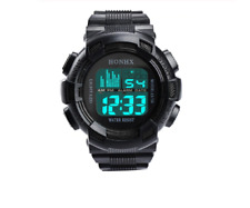 Men's Black Sports / Military watch digital with blue back light brand new
