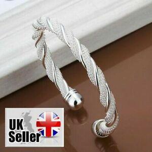 Women's Fashion Simple Silver Plated Twist Cuff Bangle Bracelet Jewelry UK SELL