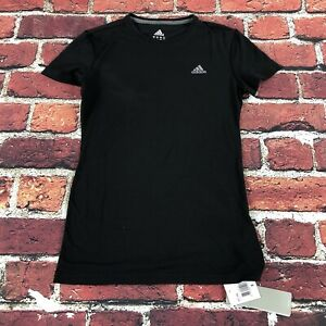 flaw* Women's small Adidas shirt Climalite Ultimate Athletic Short Sleeve Black