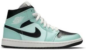 Nike Air Jordan 1 Mid Aqua Black Shoes Sneakers BQ6472-300    Women 11, Men 9.5