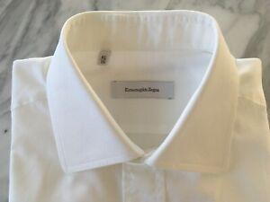 Men's Ermenegildo Zegna Classic White Business Shirt 100% Cotton Size 16 / 41