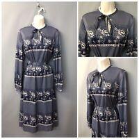 Vintage Navy Floral Belted Dress UK 16 EUR 44