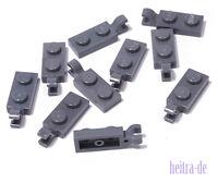 LEGO - 10 x Platte dunkelgrau 1x2 mit Clip an Längsseite / 63868 NEUWARE