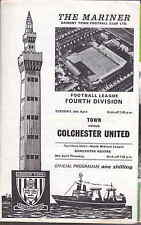 Grimsby Town v Colchester United Division 4 April 28th 1970 vgc