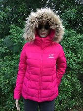 rare HOLLISTER Fur Hooded Pink Winter Puffer Coat Jacket Abercrombie & Fitch XS