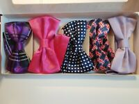 LOT OF 5 Dan Smith Mens Pre tied Bow Ties New Blue Red purple Britush Flag