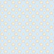 Fabric Baby Sleepy Stars Yellow on Blue Flannel 1/4 Yard
