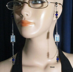 Dr Who Eyeglasses Chain Holder Blue Police Phone Box Time Lord Travel Hematite