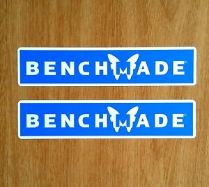 """TWO BENCHMADE FADE RESISTANT 6"""" x 1.25"""" VINYL DECAL STICKERS EMERSON KNIFE SIGN"""