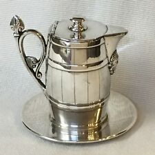 ANTIQUE SILVER PLATE SYRUP PITCHER & LINER  ~ REED & BARTON ~ BARREL & INDIAN