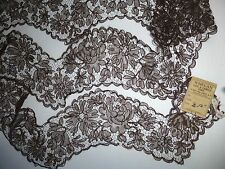 Vintage French Brown Silk Net Applique Lace 3 Yards