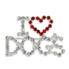 NEW I Love Dogs Red Crystal Heart Brooch Silver Tone Rhinestone Puppy Dog Pin