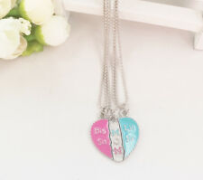 3PCs Girls Children Kids Mom Big Little Sister Heart love Necklace Children Gift