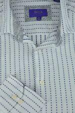 Tallia Hombre Blanco & Azul con Puntos Algodón Casual Camisa M
