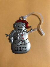 NEW HALLMARK METAL Snowman CHLOE Christmas Holiday Ornament
