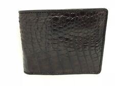 100% Genuine Crocodile Alligator Skin Leather Man Bifold Wallet Dark Brown