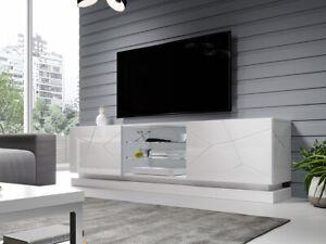 TV-Lowboard Quiet 200 TV-Schrank Sideboard Hochglanz Wohnzimmer Weiß Media M24