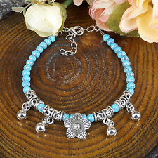New  HOT Free shipping Tibet silver multicolor jade turquoise bead bracelet S83