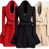 Belted Sweet Girl Wool Jacket Womens Wool Blend Military Trench Coat Outwear Hot