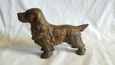 "Old Vtg Unmarked Cast Iron Painted Cocker Spaniel 7"" X 5"" Door Stop"
