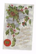 Vintage Greetings Postcard Christmas Bells Holly