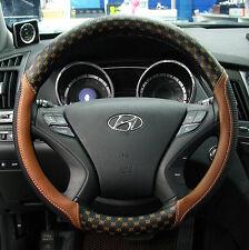 Gauss Premium Steering Wheel Cover - VALENTINO Brown Plaid Pattern / 38 cm