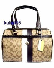 Coach Heritage Stripe Zip Satchel Handbag Brown 14478 Retail $298