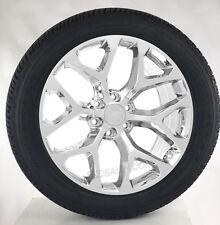 "GMC Yukon Denali Sierra 22"" Chrome Snowflake Wheels Rims Tires Sensors Lug Nuts"