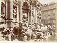 Italie, Roma, Fontana di Trevi  Vintage albumen print  Tirage albuminé  20x2