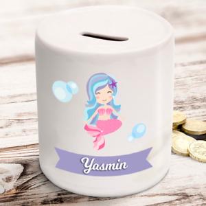 Personalised kids childrens money box mermaid design gift present idea ANY NAME