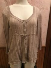 DKNY jeans Womens Eyelet Sweater Size Small Glittery Beige Babydoll Shirt Top