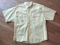 Christian Dior Short Sleeve Button Front Shirt Mens Size Large Yellow