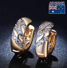 Antique 18K Gold Filled Swarovski Crystal Wedding womens Stud Dangle Earrings