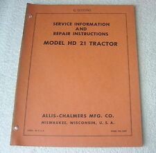 ALLIS CHALMERS HD 21 TRACTOR SERVICE MANUAL