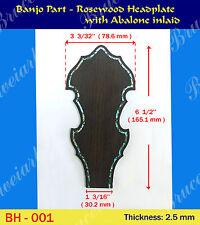 Free Shipping, Banjo Part - Rosewood Headplate w/ Abalone Inlay (BH-001)