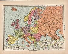 1924 MAP ~ EUROPE ~ BRITISH ISLES FRANCE SPAIN NORWAY DENMARK ITALY etc