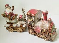 Christmas Train Santa Sleigh Teddy Bear 2 Piece Set Ceramic High Gloss Figurines