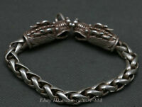 Chinese Miao Silver Palace 2 Dragon Beast Lucky hand chain bracelet Man Style