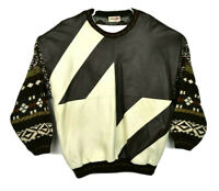 Bagazio 90s Mens XL Hip Hop Brown Cream Leather Patchwork Crewneck Sweater