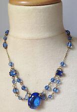 collier ancien couleur or patiné pierre bleu facette déco perle / 108