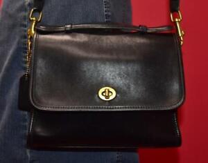 """Vintage COACH """"Court"""" Black Leather Satchel CrossBody Messenger Purse Bag 9870"""