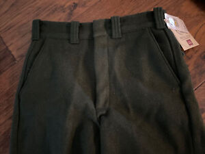 NEW Vintage Woolrich USA Green Heavy Wool Hunting Outdoor Pants Mens 31x36