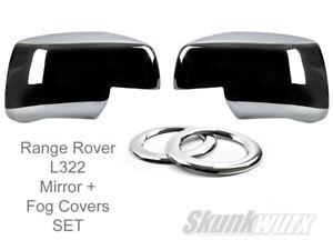 Door wing mirror chrome cover cap plus Chrome fog rings for Range Rover L322