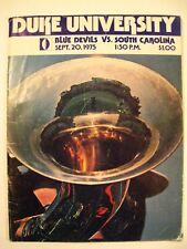 DUKE UNIVERSITY Football Magazine Sept 20,1975 Duke vs. North Carolina Game