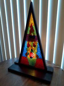 "Vtg 60s 70s MCM Geometric Lucite Desk Table Lamp/Light  3-D Multicolored ""Tree"""