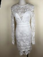BNWT BOOHOO Gia Lace Long Sleeve Open Back Lace Dress In Rose - Size 10