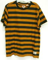 New Levis Mens Burnt Orange Striped Crew Neck Casual T-Shirt Tee Size Small