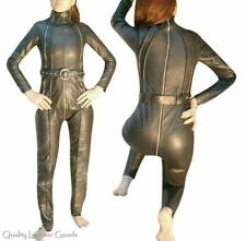 FEMALE BESPOKE LEATHER  CATSUIT GOTHIC JUMPSUIT STEAMPUNK BLUF HALLOWEEN BELTED