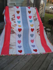 "HANDMADE VTG QUILT BLANKET HEART COTTON BLEND WHITE BLUE PINK 71"" X88""IN"