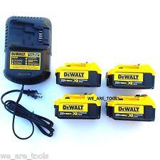 4) New Genuine Dewalt 20V DCB204 4.0 AH Li-ion Batteries,(1) Charger 20 Volt MAX